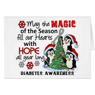 Diabetes de los pingüinos del navidad tarjeta de felicitación