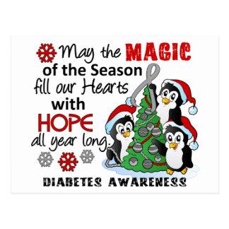 Diabetes de los pingüinos del navidad postales