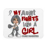 Diabetes de tía Fights Like Girl 42,9 Imanes De Vinilo