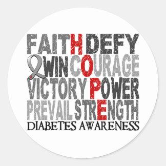 Diabetes del collage de la palabra de la esperanza pegatina redonda