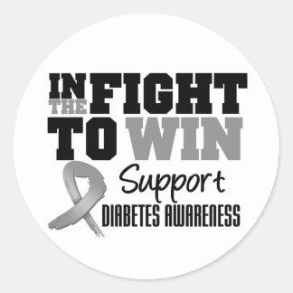 Diabetes en la lucha a ganar pegatina redonda