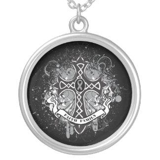 Diabetes - Faith Family Prayer Cross Round Pendant Necklace