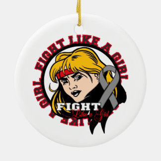 Diabetes Fight Like A Girl Attitude Double-Sided Ceramic Round Christmas Ornament