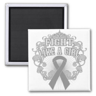 Diabetes Fight Like A Girl Fleurish 2 Inch Square Magnet