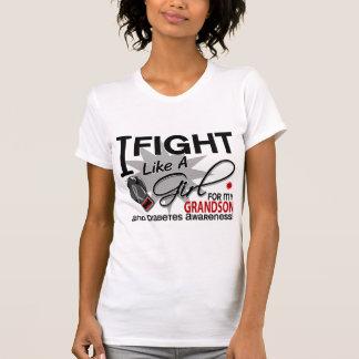 Diabetes Fight Like A Girl Grandson 11 Tee Shirt