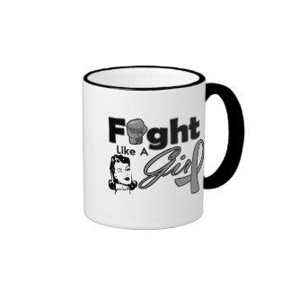 Diabetes Fight Like A Girl - Retro Girl Ringer Coffee Mug