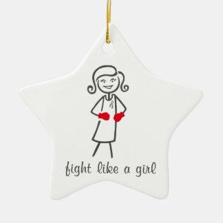 Diabetes Fight Like A Girl (Retro) Double-Sided Star Ceramic Christmas Ornament