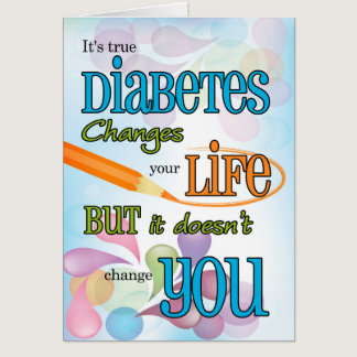 Diabetes Get Well Bright Color Typography Card