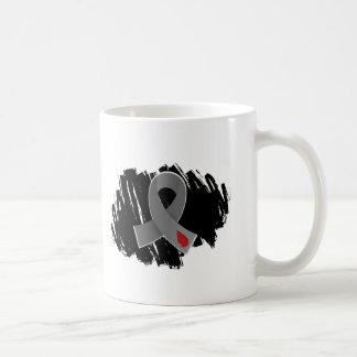Diabetes Grey Ribbon With Scribble Classic White Coffee Mug