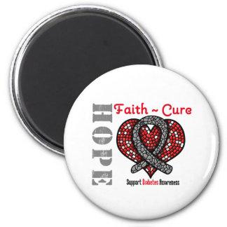 Diabetes Hope Faith Cure Heart Ribbon 2 Inch Round Magnet