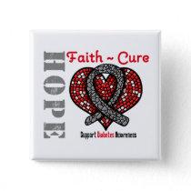 Diabetes Hope Faith Cure Heart Ribbon Button