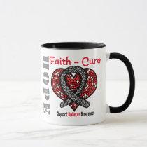 Diabetes Hope Faith Cure Heart Ribbon Mug