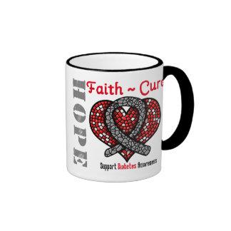 Diabetes Hope Faith Cure Heart Ribbon Ringer Coffee Mug