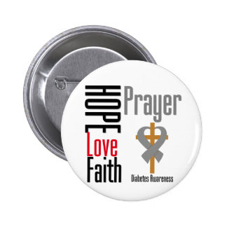 Diabetes Hope Love Faith Prayer Cross Pinback Button