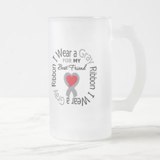 Diabetes I Wear Gray Ribbon For My  Best Friend 16 Oz Frosted Glass Beer Mug