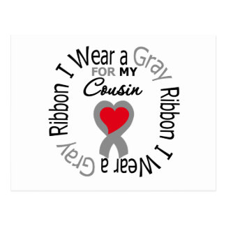 Diabetes I Wear Gray Ribbon For My Cousin Postcard
