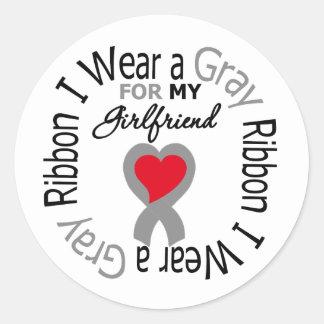 Diabetes I Wear Gray Ribbon For My Girlfriend Stickers