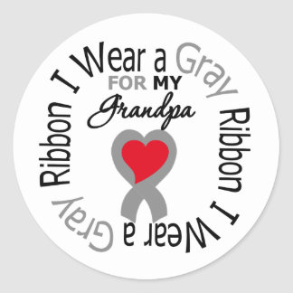Diabetes I Wear Gray Ribbon For My Grandpa Round Sticker