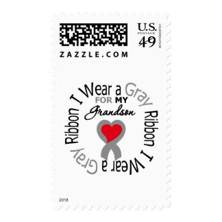 Diabetes I Wear Gray Ribbon For My Grandson Postage Stamp
