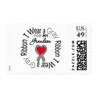 Diabetes I Wear Gray Ribbon For My Grandson Stamp