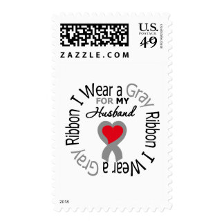 Diabetes I Wear Gray Ribbon For My Husband Postage Stamp