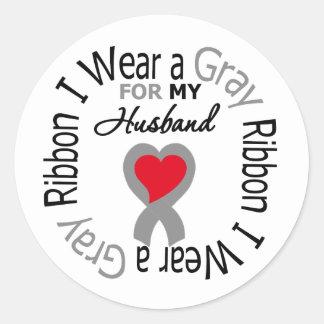 Diabetes I Wear Gray Ribbon For My Husband Round Sticker