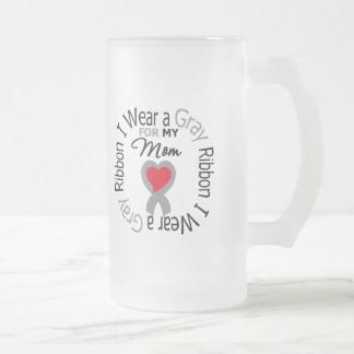 Diabetes I Wear Gray Ribbon For My Mom 16 Oz Frosted Glass Beer Mug