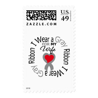 Diabetes I Wear Gray Ribbon For My  Wife Postage Stamp