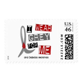 Diabetes I Wear Grey For ME 37 Postage Stamps