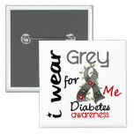 Diabetes I Wear Grey For ME 43 2 Inch Square Button