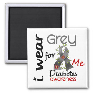 Diabetes I Wear Grey For ME 43 2 Inch Square Magnet