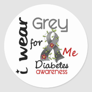 Diabetes I Wear Grey For ME 43 Classic Round Sticker