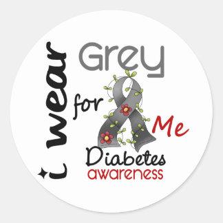 Diabetes I Wear Grey For ME 43 Classic Round Sticker