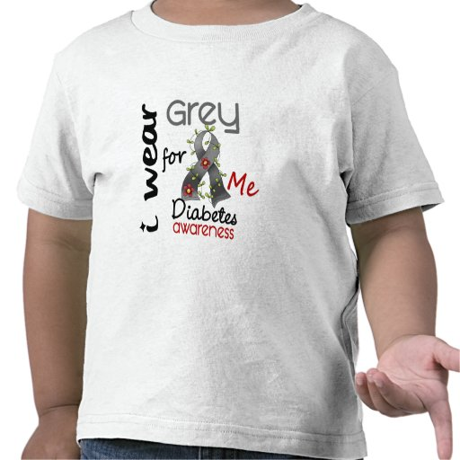 Diabetes I Wear Grey For ME 43 Tees
