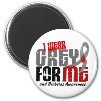 Diabetes I WEAR GREY FOR ME 6.2 2 Inch Round Magnet