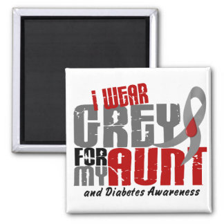 Diabetes I WEAR GREY FOR MY AUNT 6.2 2 Inch Square Magnet