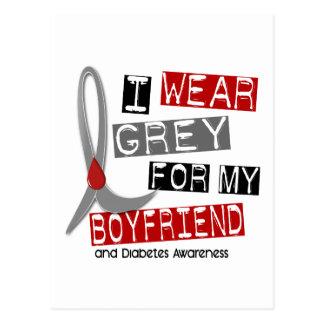 Diabetes I Wear Grey For My Boyfriend 37 Postcard