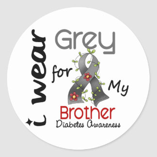 Diabetes I Wear Grey For My Brother 43 Classic Round Sticker