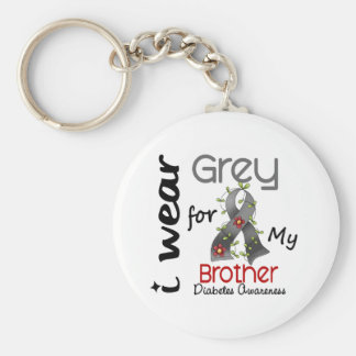 Diabetes I Wear Grey For My Brother 43 Keychain