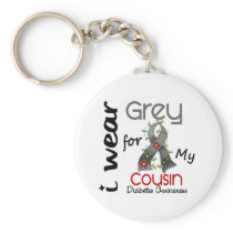 Diabetes I Wear Grey For My Cousin 43 Keychain