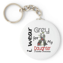 Diabetes I Wear Grey For My Daughter 43 Keychain
