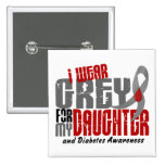 Diabetes I WEAR GREY FOR MY DAUGHTER 6.2 Pinback Button