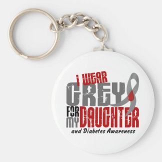 Diabetes I WEAR GREY FOR MY DAUGHTER 6.2 Keychain