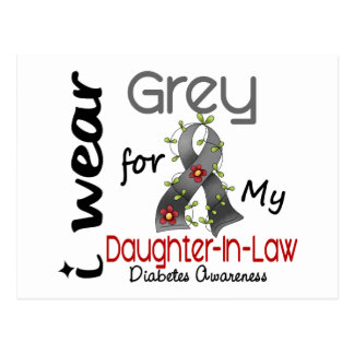 Diabetes I Wear Grey For My Daughter-In-Law 43 Postcard
