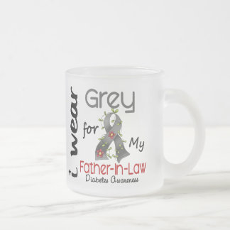 Diabetes I Wear Grey For My Father-In-Law 43 10 Oz Frosted Glass Coffee Mug