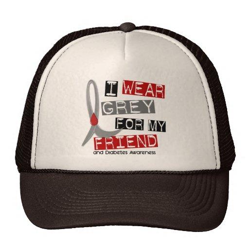 Diabetes I Wear Grey For My Friend 43 Mesh Hats