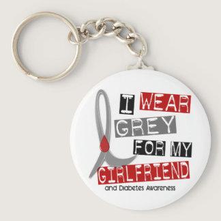 Diabetes I Wear Grey For My Girlfriend 37 Keychain