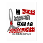 Diabetes I Wear Grey For My Granddaughter 37 Postcards