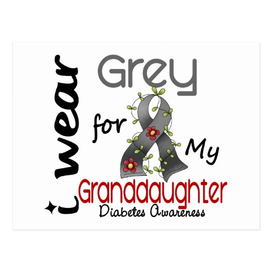 Diabetes I Wear Grey For My Granddaughter 43 Postcard