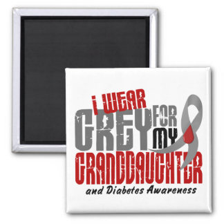 Diabetes I WEAR GREY FOR MY GRANDDAUGHTER 6.2 2 Inch Square Magnet